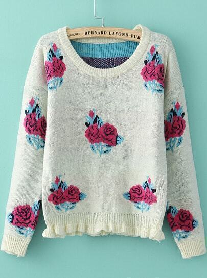 Beige Long Sleeve Rose Pattern Knit Sweater
