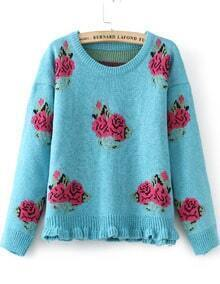 Blue Long Sleeve Rose Pattern Knit Sweater