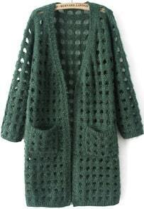 Green Long Sleeve Hollow Pockets Knit Cardigan