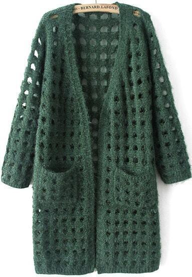 Green Long Sleeve Hollow Pockets Knit Cardigan