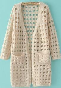 Beige Long Sleeve Hollow Pockets Knit Cardigan