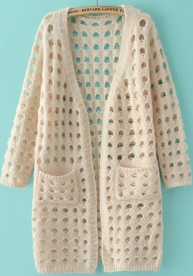 Beige Long Sleeve Hollow Pockets Knit Cardigan