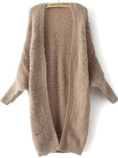 Khaki Batwing Long Sleeve Cable Knit Sweater