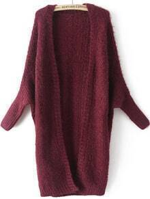 Red Batwing Long Sleeve Cable Knit Sweater