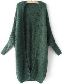 Green Batwing Long Sleeve Cable Knit Sweater
