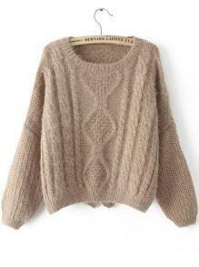Khaki Long Sleeve Split Cable Knit Sweater