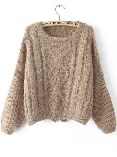 Khaki Long Sleeve Split Cable Knit Sweater