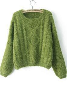 Green Long Sleeve Split Cable Knit Sweater