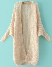 Beige Batwing Long Sleeve Cable Knit Sweater