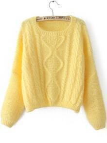 Yellow Long Sleeve Split Cable Knit Sweater