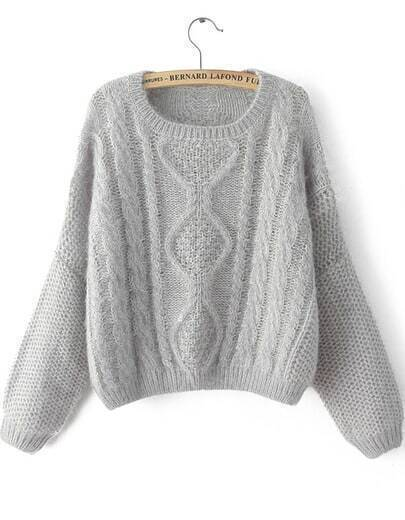 Grey Long Sleeve Split Cable Knit Sweater