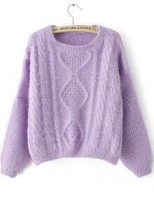 Purple Long Sleeve Split Cable Knit Sweater