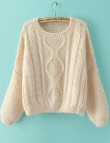 Beige Long Sleeve Split Cable Knit Sweater
