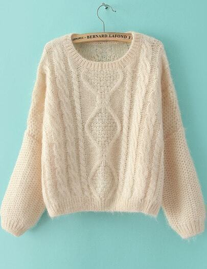 Beige Long Sleeve Split Cable Knit Sweater