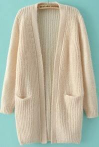 Beige Long Sleeve Pockets Knit Cardigan
