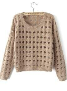 Khaki Long Sleeve Hollow Crop Knit Sweater