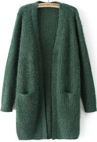 Green Long Sleeve Pockets Knit Cardigan