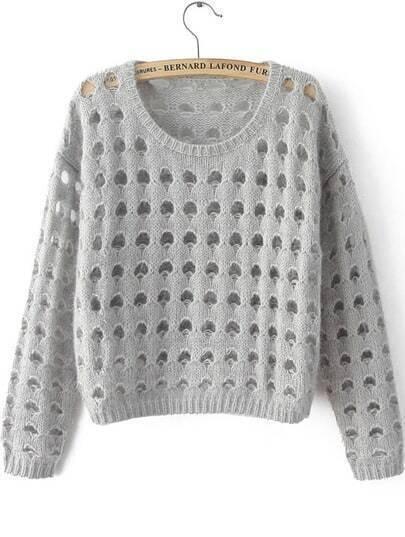 Grey Long Sleeve Hollow Crop Knit Sweater