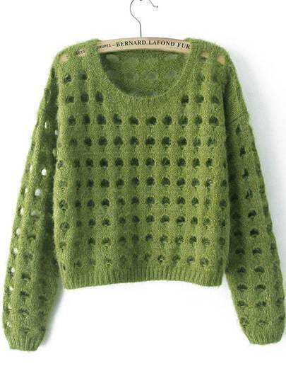 Green Long Sleeve Hollow Crop Knit Sweater
