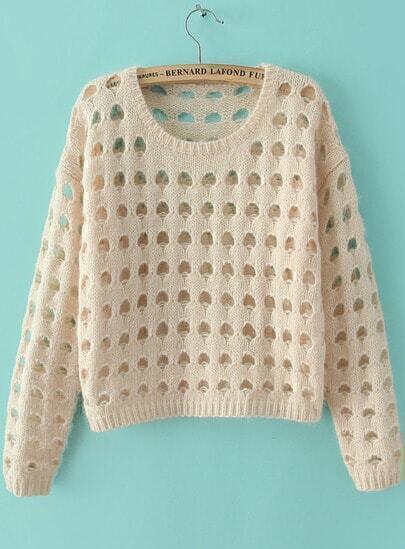 Beige Long Sleeve Hollow Crop Knit Sweater