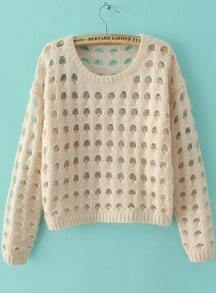 Beige Long Sleeve Hollow Crop Knit Sweater