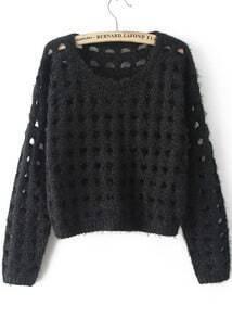 Black Long Sleeve Hollow Crop Knit Sweater