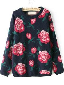 Navy Long Sleeve Rose Pattern Knit Sweater