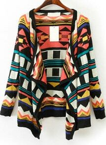 Black Red Long Sleeve Geometric Pattern Cardigan