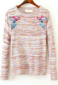 Orange Long Sleeve Swallow Embroidered Sweater