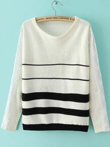 White Long Sleeve Striped Lace Knit Sweater