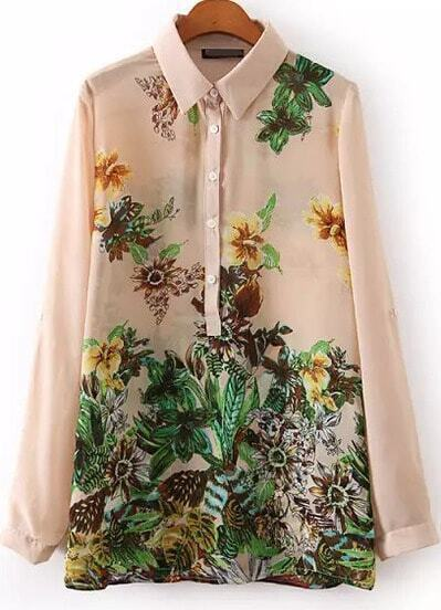 Pink Lapel Long Sleeve Floral Chiffon Blouse