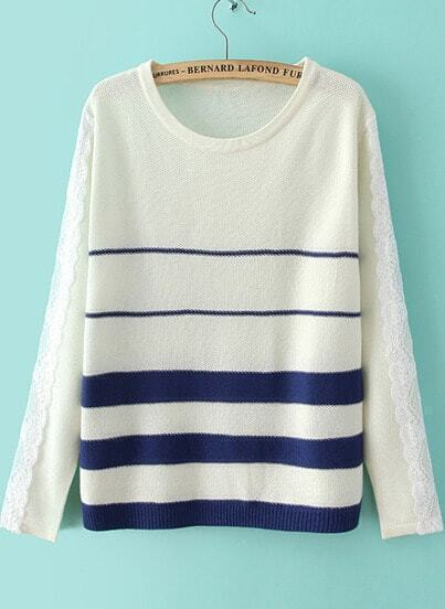 Blue Long Sleeve Striped Lace Knit Sweater