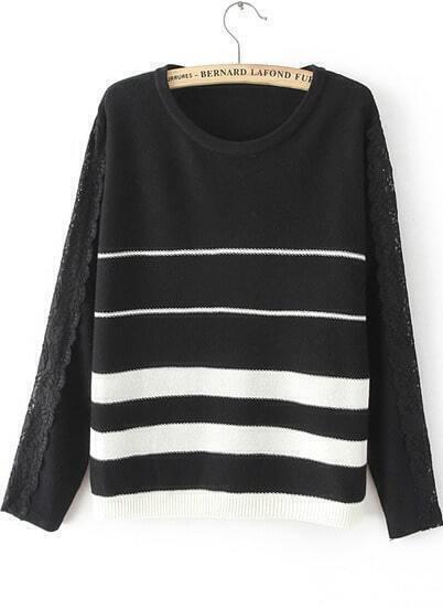 Black Long Sleeve Striped Lace Knit Sweater