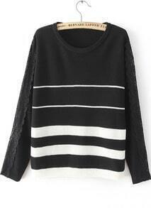 Black Long Sleeve Striped Lace Knit Sweater
