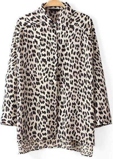 Black White Long Sleeve Leopard Loose Blouse