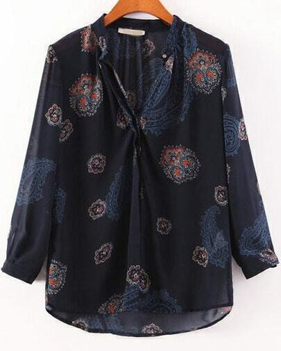 Navy Long Sleeve Cashews Print Chiffon Blouse
