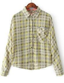 Green Lapel Batwing Long Sleeve Plaid Blouse