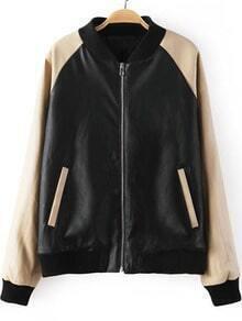 Black Contrast Long Sleeve Pockets PU Jacket
