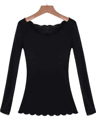 Black Long Sleeve Zigzag Slim T-Shirt