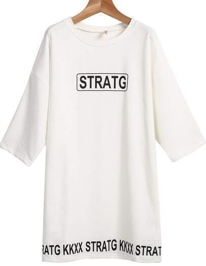 White Long Sleeve Letters Print Loose T-Shirt