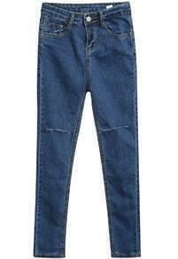 Blue Pockets Cut Ripped Slim Denim Pant