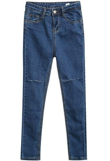 Blue Pockets Cut Ripped Slim Denim Pant