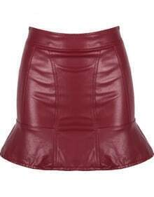 Red Ruffle Bodycon PU Leather Skirt