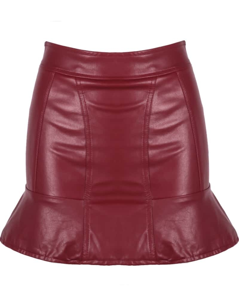 ruffle bodycon pu leather skirt shein sheinside