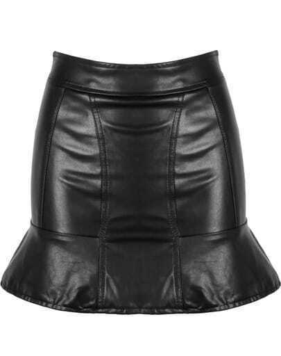 Black Ruffle Bodycon PU Leather Skirt