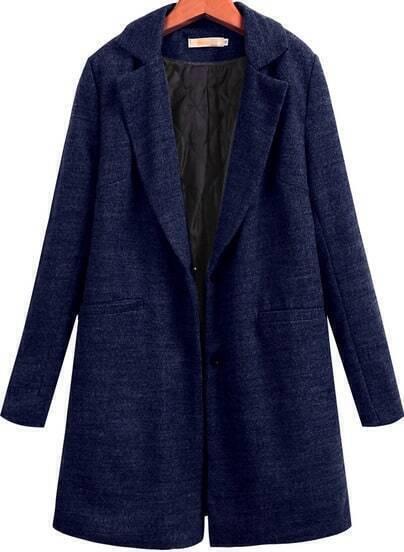 Royal Blue Lapel Long Sleeve Pockets Woolen Coat