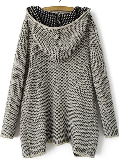 Grey Hooded Long Sleeve Pockets Cardigan -SheIn(Sheinside)