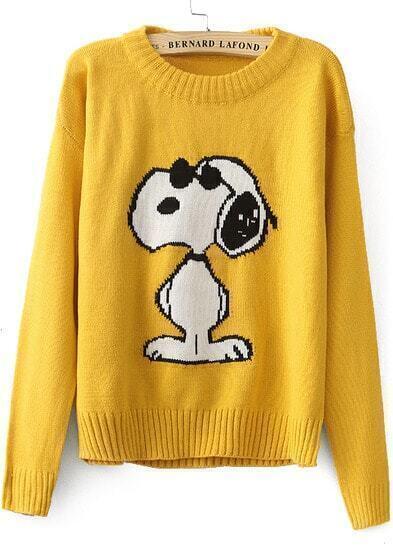 Jersey punto Snoopy manga larga-amarillo