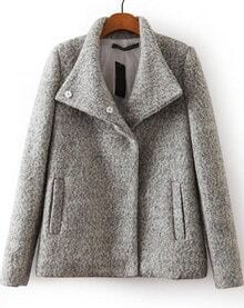 Grey Long Sleeve Buttons Pockets Woolen Coat