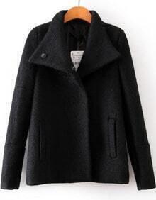 Black Long Sleeve Buttons Pockets Woolen Coat
